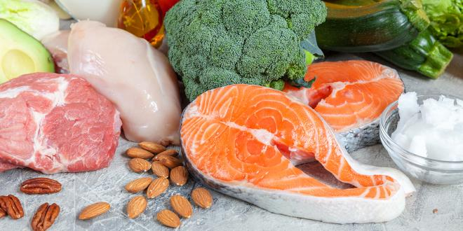 Keto-friendly foods, such as meat, nuts, oil, eggs, fruit, and vegetables