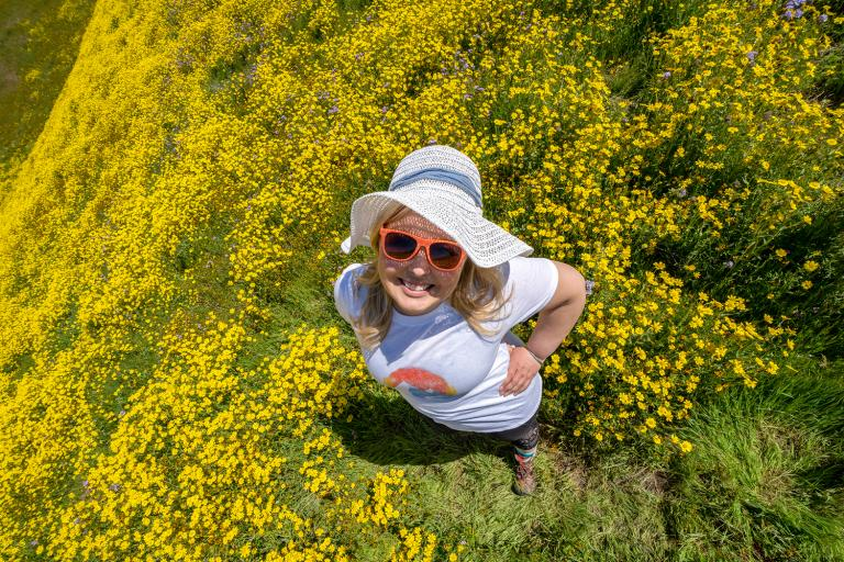 Overhead view of a woman in a yellow wildflower field wearing hiking clothing and a straw sun hat.